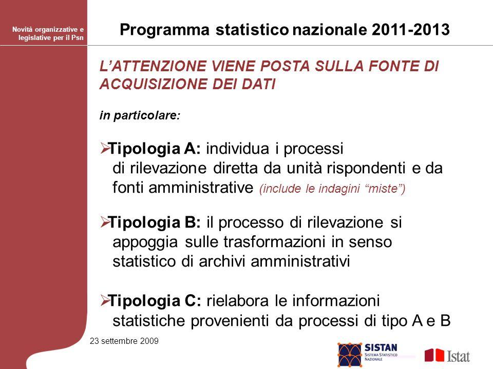 23 settembre 2009 Fonte dei dati (multiresponse) per le Rilevazioni Ril.1.