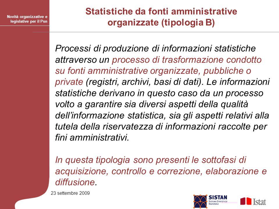 23 settembre 2009 Processi di produzione di informazioni statistiche attraverso un processo di trasformazione condotto su fonti amministrative organizzate, pubbliche o private (registri, archivi, basi di dati).
