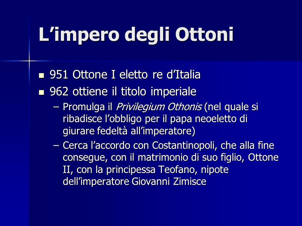 Limpero degli Ottoni 951 Ottone I eletto re dItalia 951 Ottone I eletto re dItalia 962 ottiene il titolo imperiale 962 ottiene il titolo imperiale –Pr