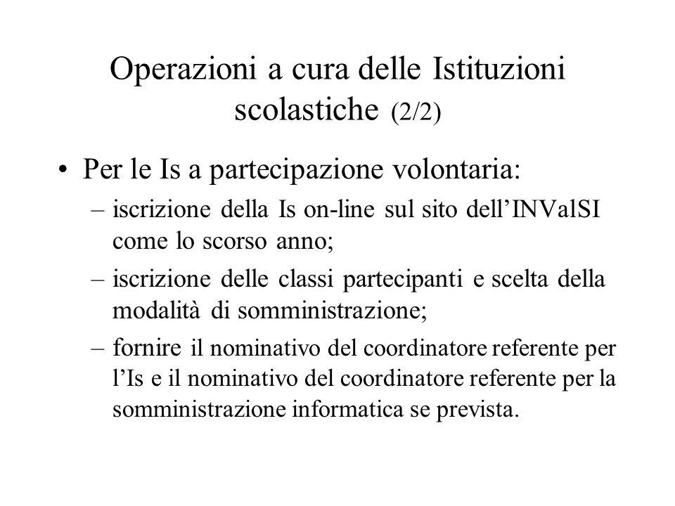 Operazioni a cura delle Istituzioni scolastiche (2/2) Per le Is a partecipazione volontaria: –iscrizione della Is on-line sul sito dellINValSI come lo