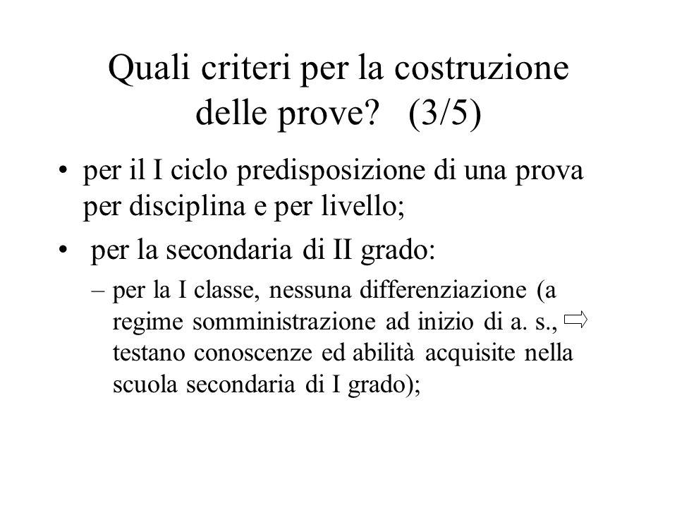 Quali criteri per la costruzione delle prove? (3/5) per il I ciclo predisposizione di una prova per disciplina e per livello; per la secondaria di II