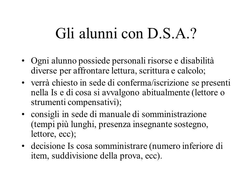 Gli alunni con D.S.A..
