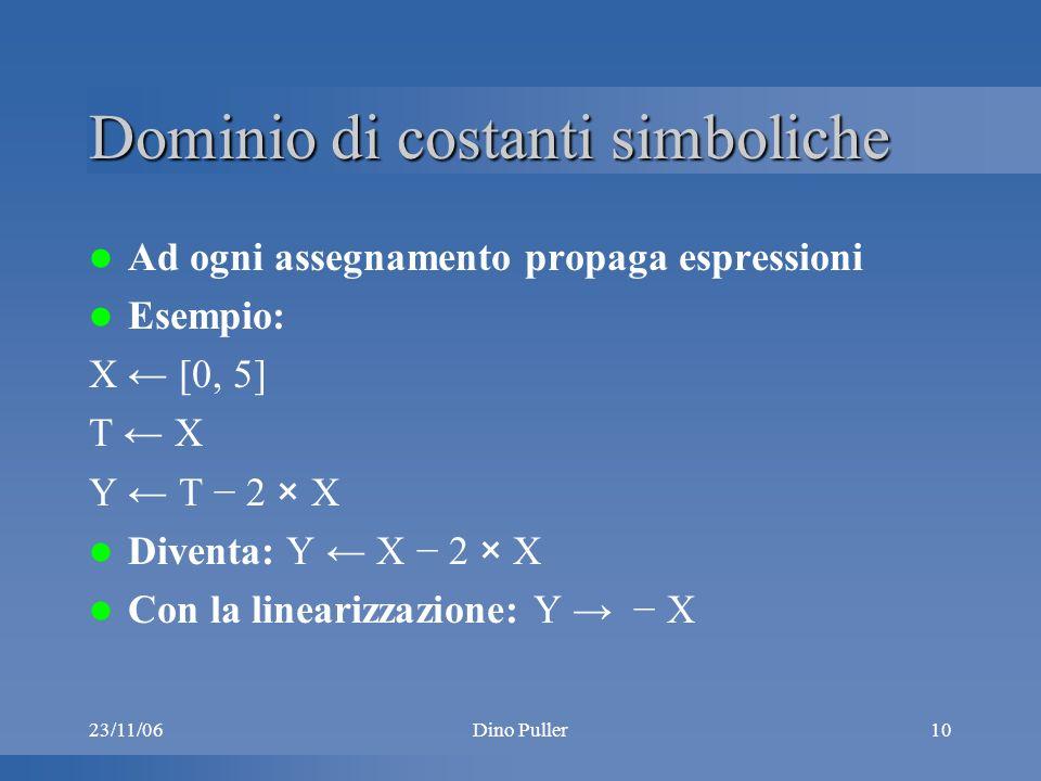 23/11/06Dino Puller10 Dominio di costanti simboliche Ad ogni assegnamento propaga espressioni Esempio: X [0, 5] T X Y T 2 × X Diventa: Y X 2 × X Con la linearizzazione: Y X