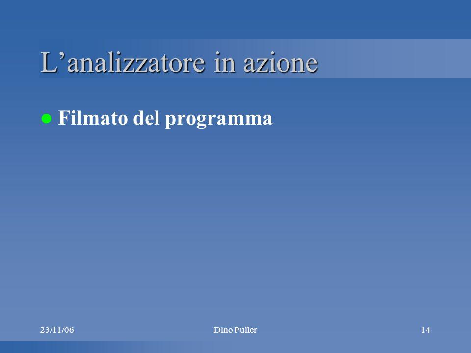 23/11/06Dino Puller14 Lanalizzatore in azione Filmato del programma
