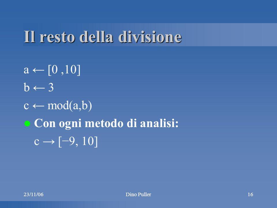 Dino Puller16 Il resto della divisione a [0,10] b 3 c mod(a,b) Con ogni metodo di analisi: c [9, 10]