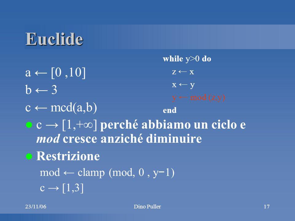 23/11/06Dino Puller17 Euclide a [0,10] b 3 c mcd(a,b) c [1,+] perché abbiamo un ciclo e mod cresce anziché diminuire Restrizione mod clamp (mod, 0, y 1) c [1,3] while y>0 do z x x y y mod (z,y) end