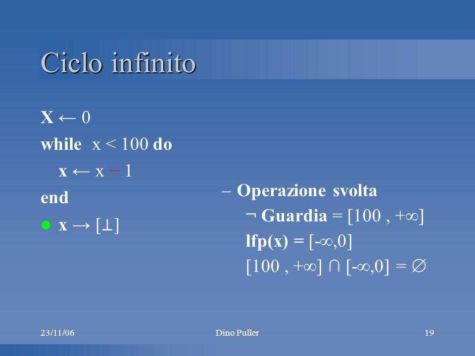 23/11/06Dino Puller19 Ciclo infinito X 0 while x < 100 do x x 1 end x [ ] –Operazione svolta ¬ Guardia = [100, + ] lfp(x) = [-,0] [100, + ] [-,0] =