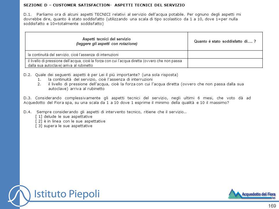 SEZIONE D – CUSTOMER SATISFACTION- ASPETTI TECNICI DEL SERVIZIO D.1.