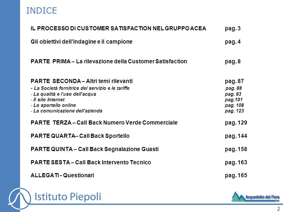 INDICE IL PROCESSO DI CUSTOMER SATISFACTION NEL GRUPPO ACEApag.