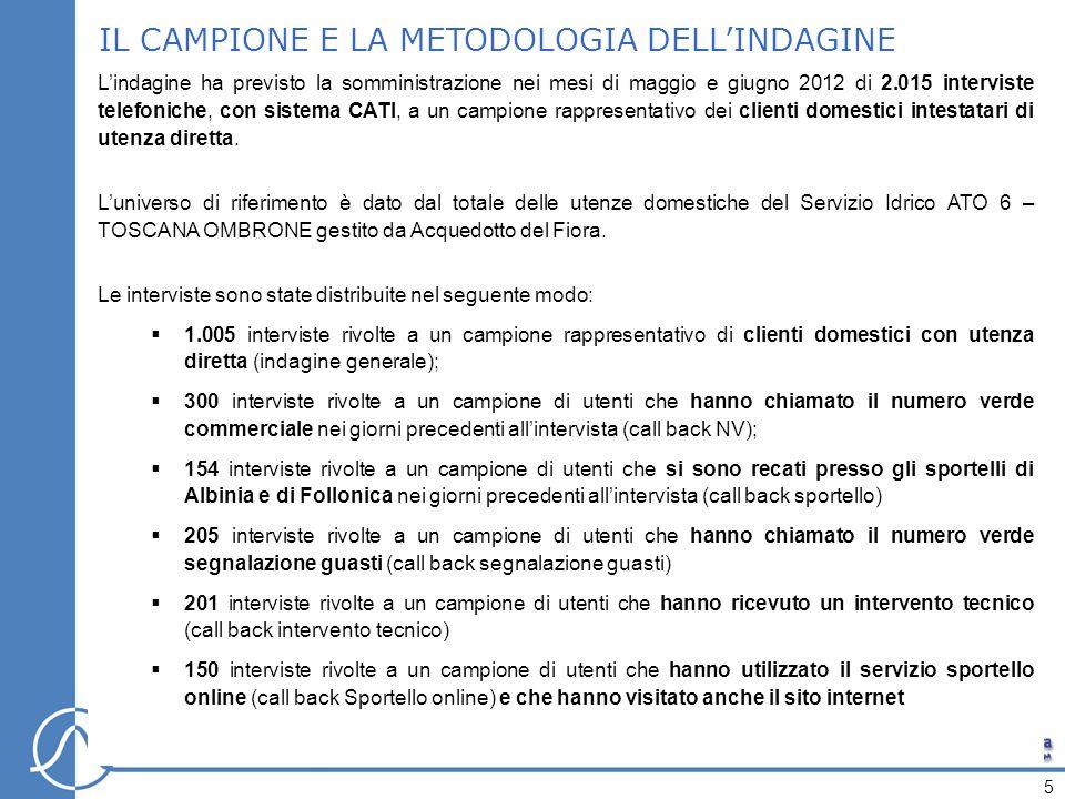 IL CAMPIONE E LA METODOLOGIA DELLINDAGINE Lindagine ha previsto la somministrazione nei mesi di maggio e giugno 2012 di 2.015 interviste telefoniche, con sistema CATI, a un campione rappresentativo dei clienti domestici intestatari di utenza diretta.