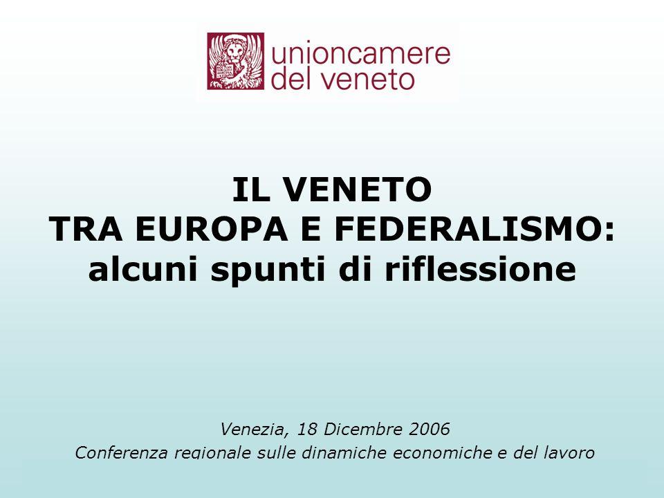 Unioncamere del Veneto1 Venezia, 18 Dicembre 2006 Conferenza regionale sulle dinamiche economiche e del lavoro IL VENETO TRA EUROPA E FEDERALISMO: alcuni spunti di riflessione