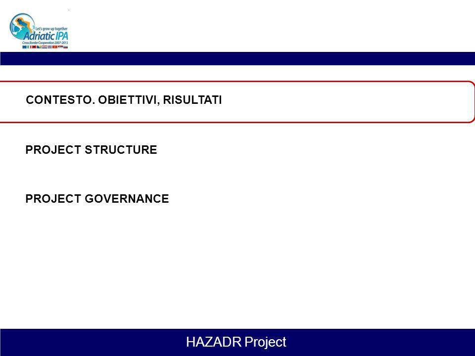 HAZADR Project BACKGROUND, OBJECTIVES AND RESULTS STRUTTURA DEL PROGETTO PROJECT GOVERNANCE