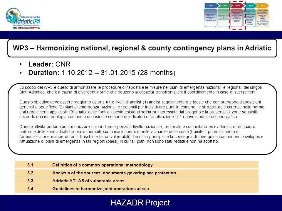 HAZADR Project COMMUNICATION & DISSEMINATION WP 1 WP 2 WP 3 WP 4 WP 5 HARMONIZING NATIONAL REGIONAL AND COUNTY CONTINGENCY PLANS IN ADRIATIC ESTABLISH