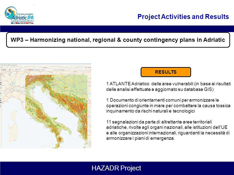 HAZADR Project Leader: CNR Duration: 1.10.2012 – 31.01.2015 (28 months) WP3 – Harmonizing national, regional & county contingency plans in Adriatic 3.