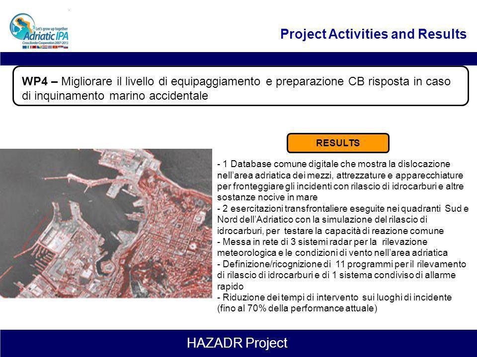 HAZADR Project Leader: Apulia Region Duration: 1.10.2012 – 31.01.2015 (28 months) WP4 – Migliorare il livello di equipaggiamento e preparazione CB ris