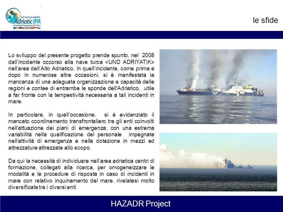 HAZADR Project Contesto del progetto L'Adriatico è uno tra i mari più sensibili del mondo in quanto, pur essendo un mare quasi chiuso, con una elevata