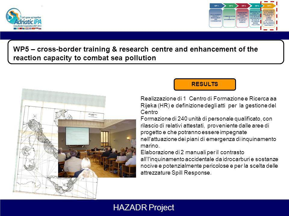 HAZADR Project Leader: Primorsko Goranska County Duration: 1.10.2012 – 31.01.2015 (28 months) WP5 – cross-border training & research centre and enhanc