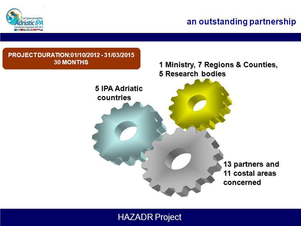 HAZADR Project Project Specific Objectives (2) Creare una banca dati comune sulla dislocazione lungo le coste adriatiche delle attrezzature esistenti