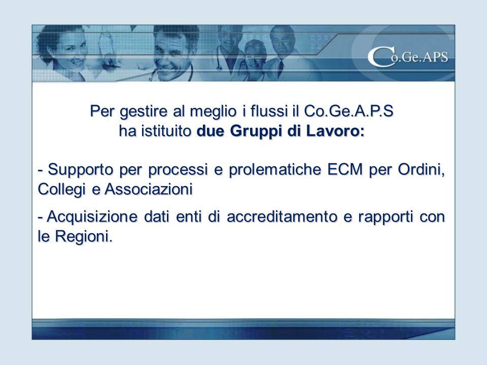 Per gestire al meglio i flussi il Co.Ge.A.P.S ha istituito due Gruppi di Lavoro: - Supporto per processi e prolematiche ECM per Ordini, Collegi e Associazioni - Acquisizione dati enti di accreditamento e rapporti con le Regioni.