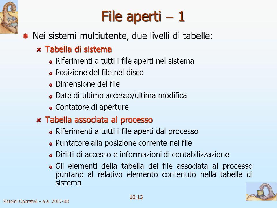 Sistemi Operativi a.a. 2007-08 10.13 File aperti 1 Nei sistemi multiutente, due livelli di tabelle: Tabella di sistema Riferimenti a tutti i file aper