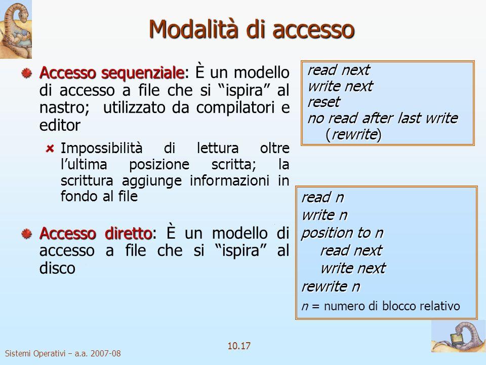 Sistemi Operativi a.a. 2007-08 10.17 Modalità di accesso read next write next reset no read after last write (rewrite) Accesso sequenziale Accesso seq