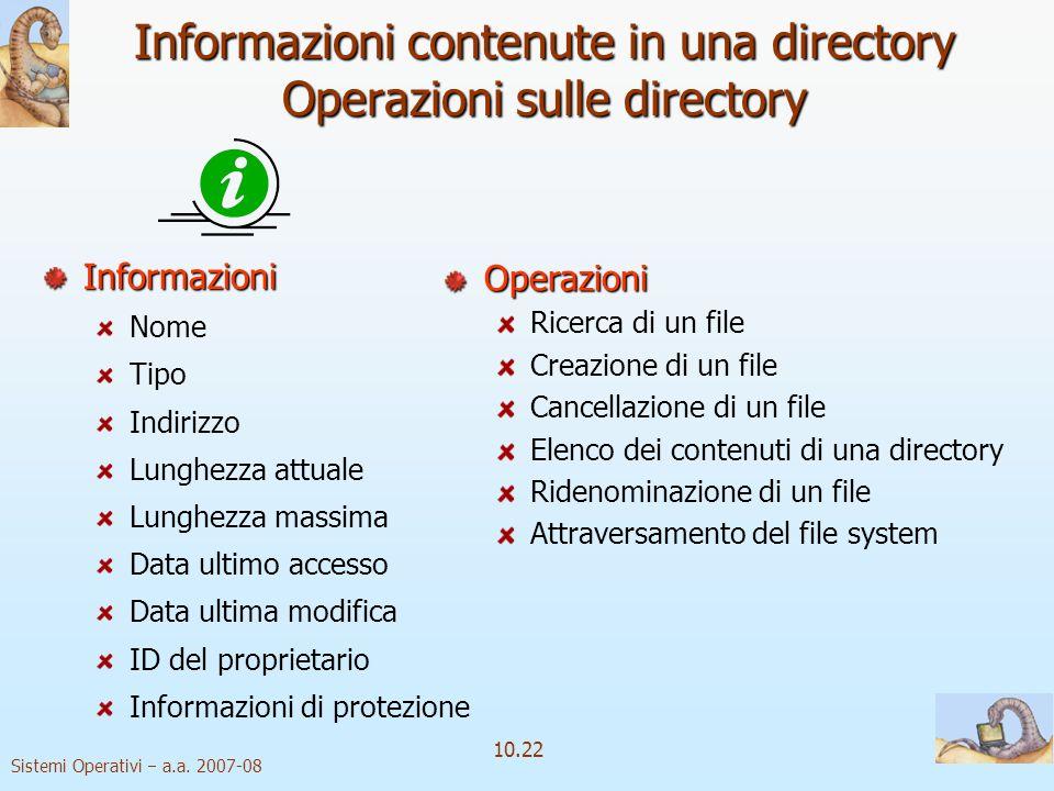 Sistemi Operativi a.a. 2007-08 10.22 Informazioni contenute in una directory Operazioni sulle directory Informazioni Nome Tipo Indirizzo Lunghezza att