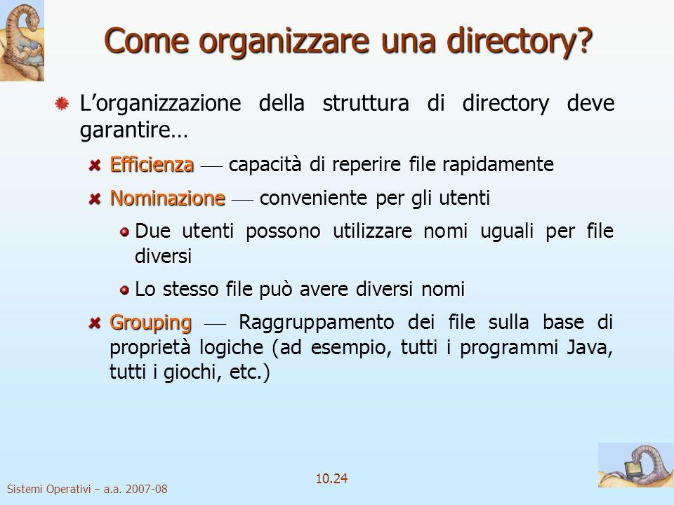 Sistemi Operativi a.a. 2007-08 10.24 Lorganizzazione della struttura di directory deve garantire… Efficienza Efficienza capacità di reperire file rapi