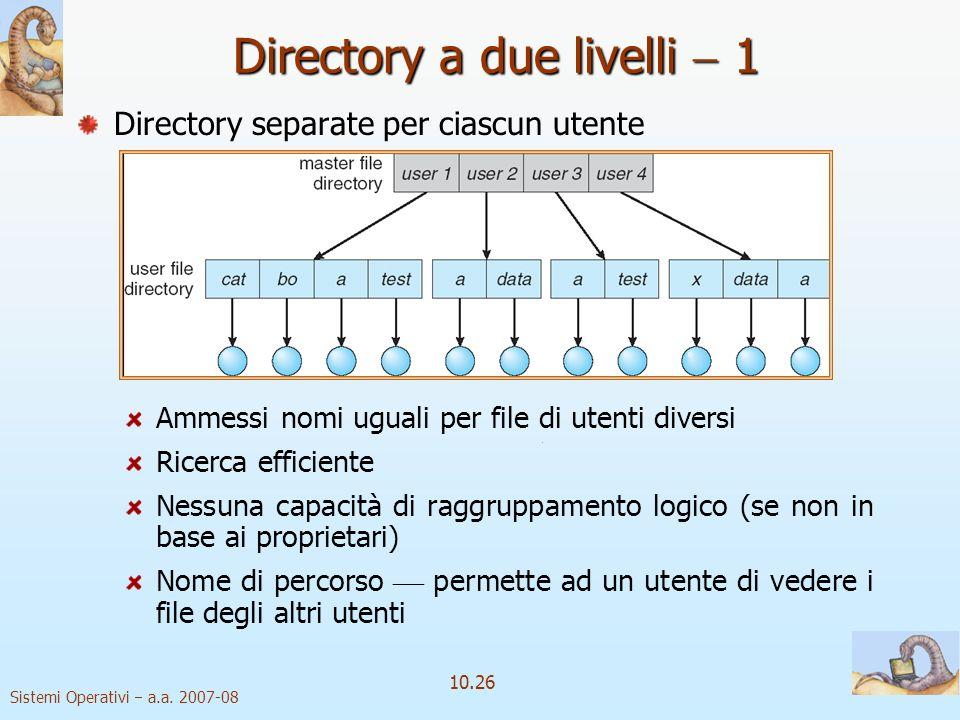 Sistemi Operativi a.a. 2007-08 10.26 Directory a due livelli 1 Directory separate per ciascun utente Ammessi nomi uguali per file di utenti diversi Ri