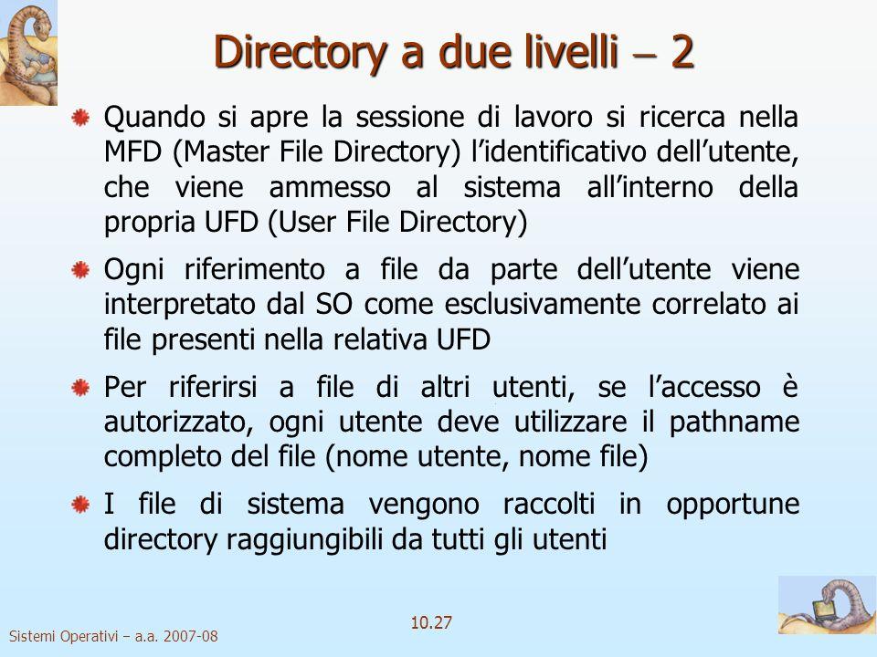 Sistemi Operativi a.a. 2007-08 10.27 Directory a due livelli 2 Quando si apre la sessione di lavoro si ricerca nella MFD (Master File Directory) liden