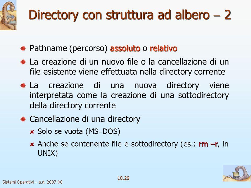 Sistemi Operativi a.a. 2007-08 10.29 assolutorelativo Pathname (percorso) assoluto o relativo La creazione di un nuovo file o la cancellazione di un f