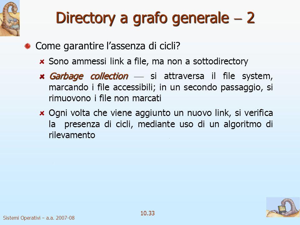 Sistemi Operativi a.a. 2007-08 10.33 Come garantire lassenza di cicli? Sono ammessi link a file, ma non a sottodirectory Garbage collection Garbage co