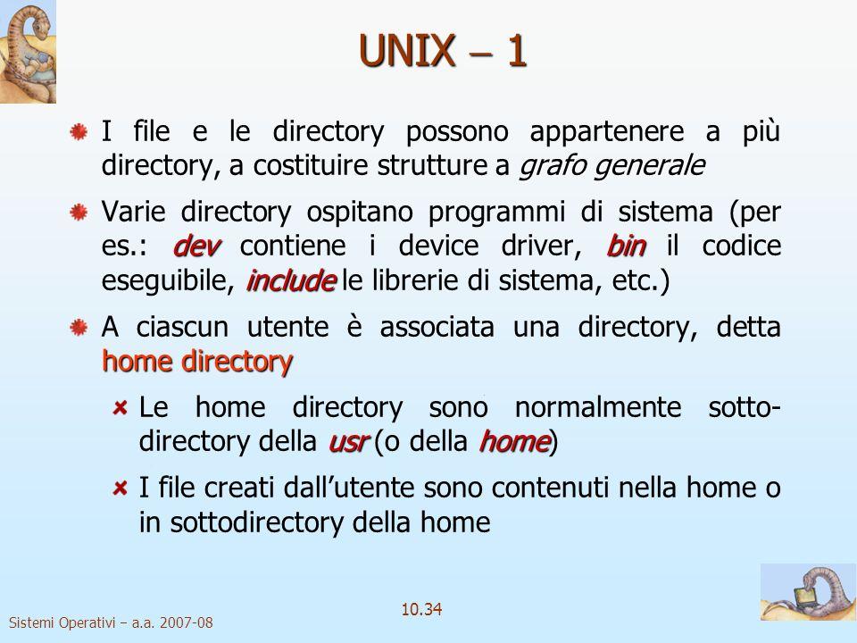 Sistemi Operativi a.a. 2007-08 10.34 UNIX 1 grafo generale I file e le directory possono appartenere a più directory, a costituire strutture a grafo g
