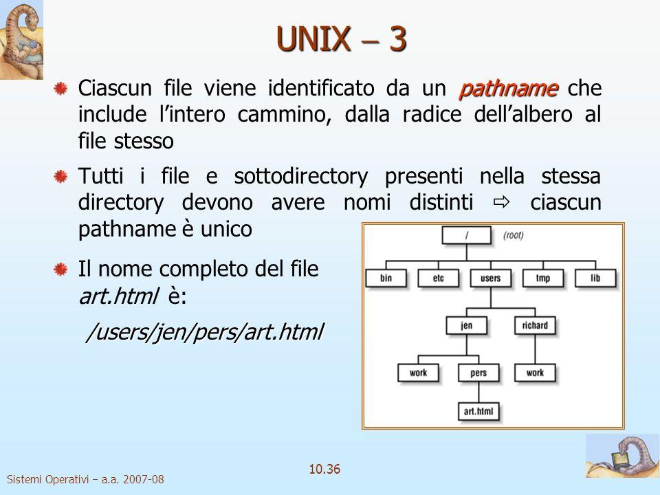 Sistemi Operativi a.a. 2007-08 10.36 pathname Ciascun file viene identificato da un pathname che include lintero cammino, dalla radice dellalbero al f