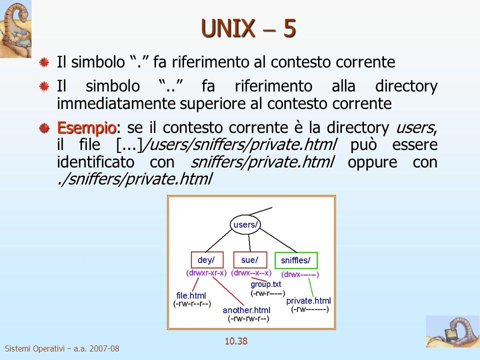 Sistemi Operativi a.a. 2007-08 10.38 Il simbolo. fa riferimento al contesto corrente Il simbolo.. fa riferimento alla directory immediatamente superio
