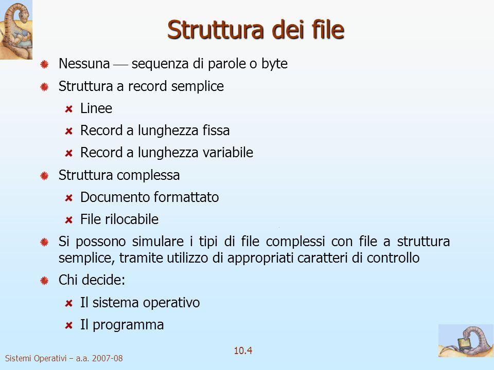 Sistemi Operativi a.a. 2007-08 10.4 Struttura dei file Nessuna sequenza di parole o byte Struttura a record semplice Linee Record a lunghezza fissa Re