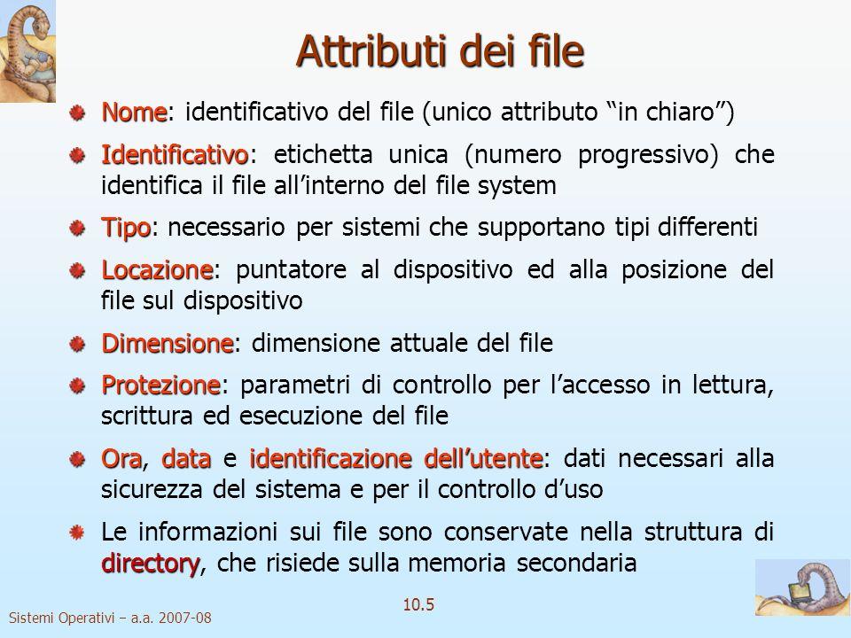 Sistemi Operativi a.a. 2007-08 10.5 Attributi dei file Nome Nome: identificativo del file (unico attributo in chiaro) Identificativo Identificativo: e