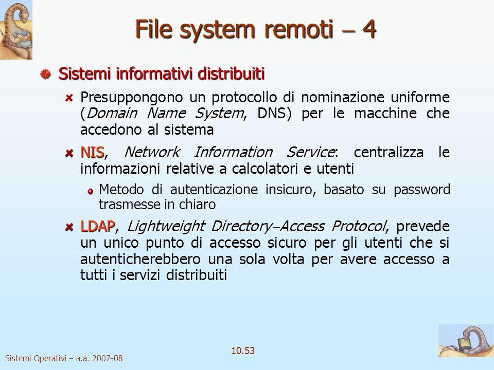 Sistemi Operativi a.a. 2007-08 10.53 File system remoti 4 Sistemi informativi distribuiti Domain Name SystemDNS Presuppongono un protocollo di nominaz