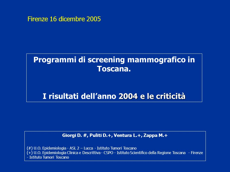 Programmi di screening mammografico in Toscana.