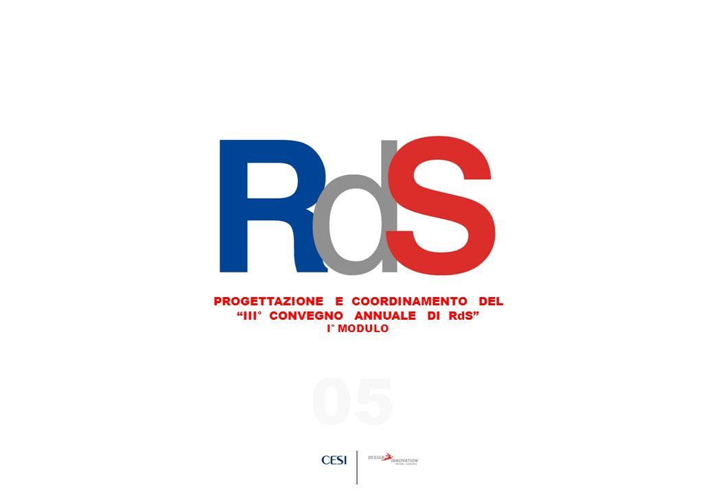 PROGETTAZIONE E COORDINAMENTO DEL III° CONVEGNO ANNUALE DI RdS PROGETTAZIONE E COORDINAMENTO DEL III° CONVEGNO ANNUALE DI RdS I° MODULO 05
