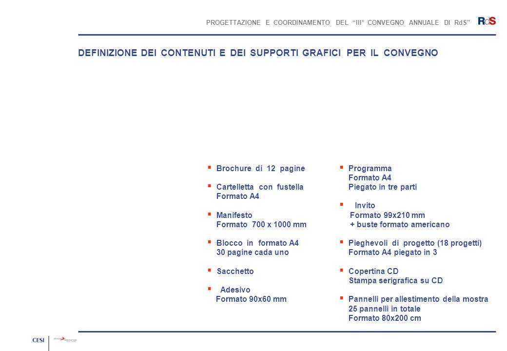 PROGETTAZIONE E COORDINAMENTO DEL III° CONVEGNO ANNUALE DI RdS Brochure di 12 pagine Cartelletta con fustella Formato A4 Manifesto Formato 700 x 1000
