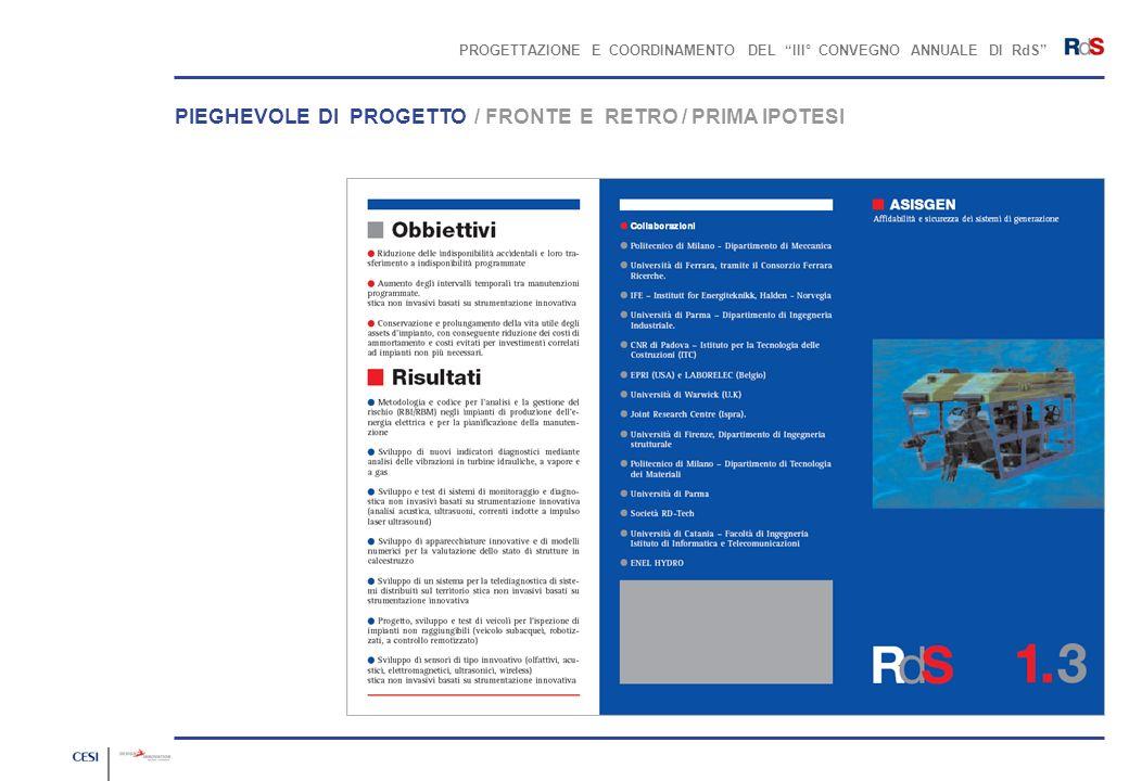 PROGETTAZIONE E COORDINAMENTO DEL III° CONVEGNO ANNUALE DI RdS PIEGHEVOLE DI PROGETTO / FRONTE E RETRO / PRIMA IPOTESI