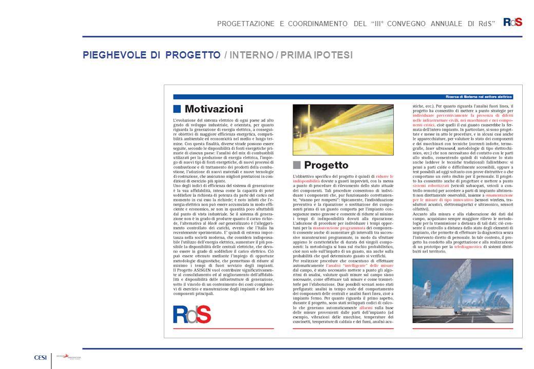 PROGETTAZIONE E COORDINAMENTO DEL III° CONVEGNO ANNUALE DI RdS PIEGHEVOLE DI PROGETTO / INTERNO / PRIMA IPOTESI