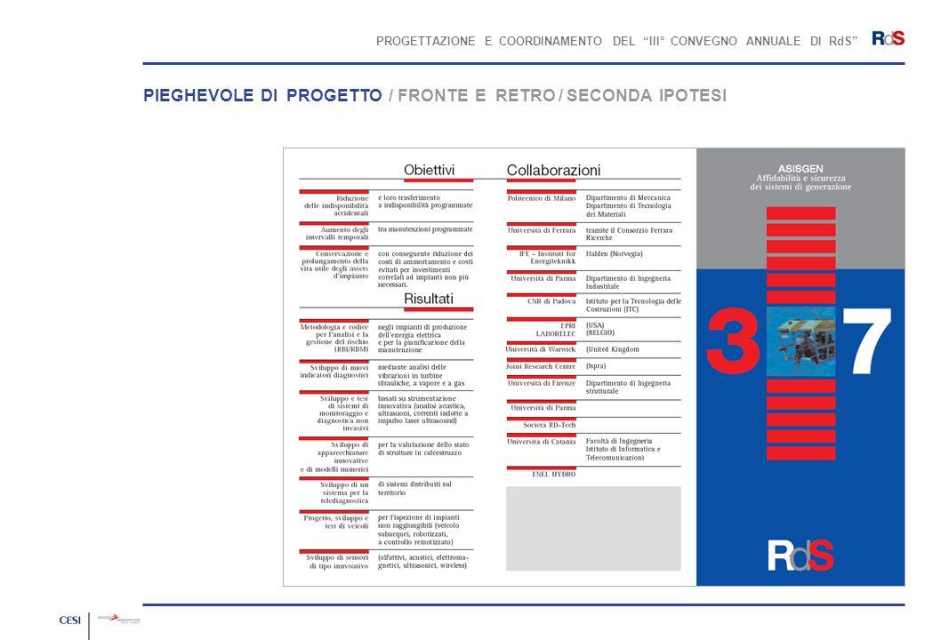 PROGETTAZIONE E COORDINAMENTO DEL III° CONVEGNO ANNUALE DI RdS PIEGHEVOLE DI PROGETTO / FRONTE E RETRO / SECONDA IPOTESI