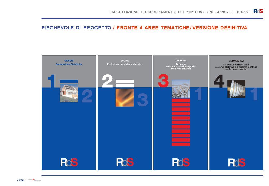 PROGETTAZIONE E COORDINAMENTO DEL III° CONVEGNO ANNUALE DI RdS PIEGHEVOLE DI PROGETTO / FRONTE 4 AREE TEMATICHE / VERSIONE DEFINITIVA