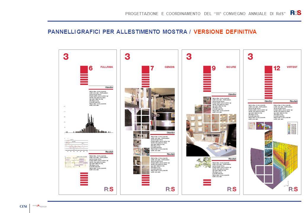 PROGETTAZIONE E COORDINAMENTO DEL III° CONVEGNO ANNUALE DI RdS PANNELLI GRAFICI PER ALLESTIMENTO MOSTRA / VERSIONE DEFINITIVA