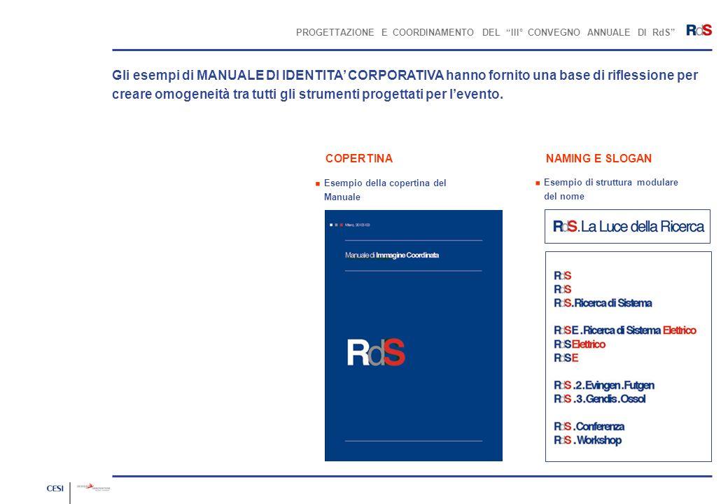 PROGETTAZIONE E COORDINAMENTO DEL III° CONVEGNO ANNUALE DI RdS Esempio della copertina del Manuale Gli esempi di MANUALE DI IDENTITA CORPORATIVA hanno