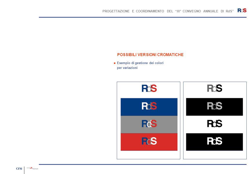 PROGETTAZIONE E COORDINAMENTO DEL III° CONVEGNO ANNUALE DI RdS POSSIBILI VERSIONI CROMATICHE Esempio di gestione dei colori per variazioni.