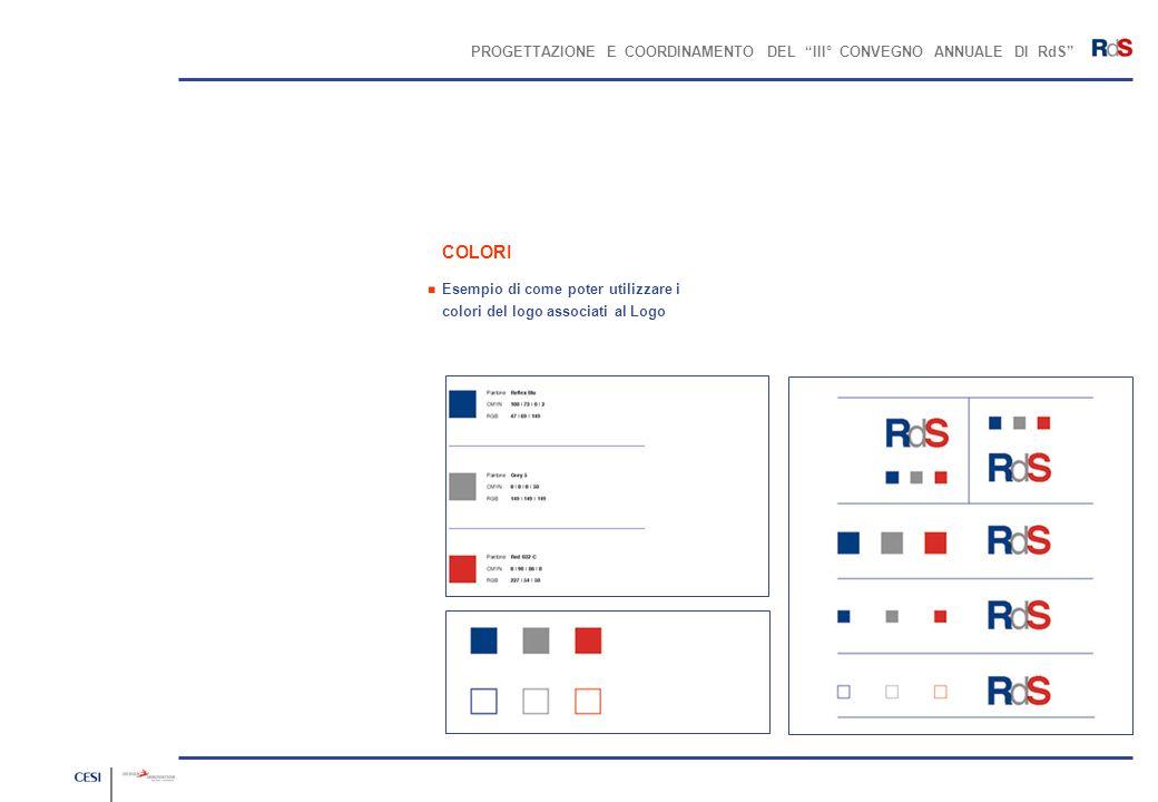 PROGETTAZIONE E COORDINAMENTO DEL III° CONVEGNO ANNUALE DI RdS COLORI Esempio di come poter utilizzare i colori del logo associati al Logo.