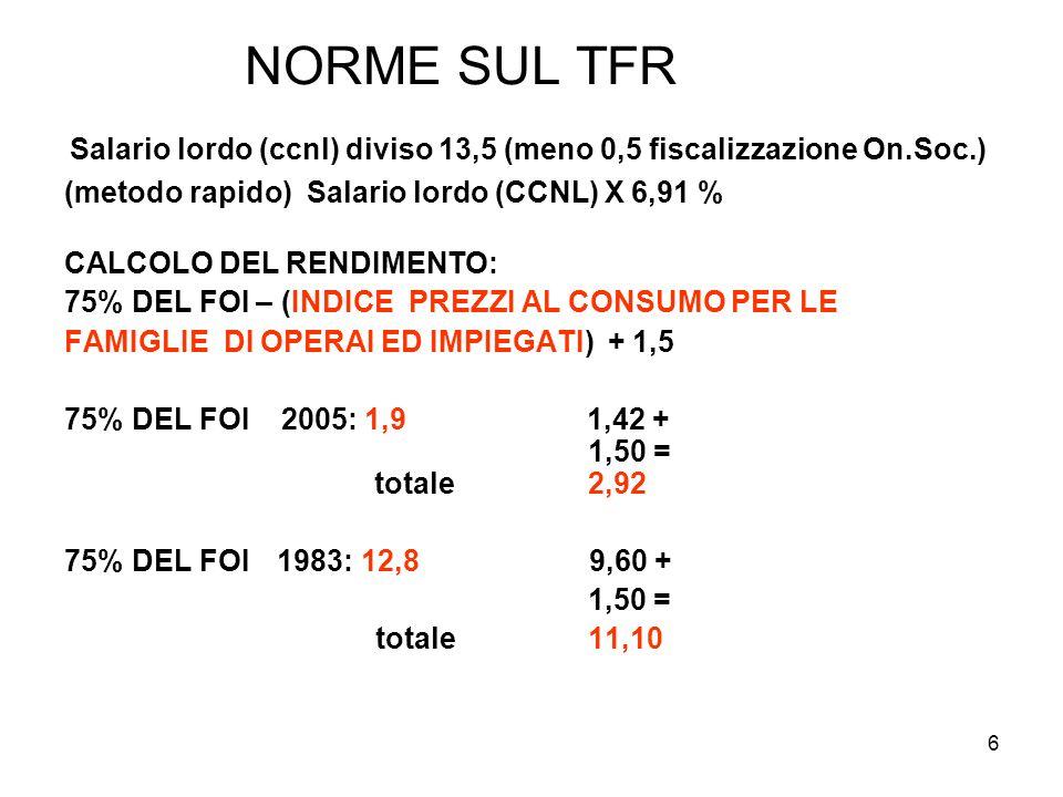6 NORME SUL TFR Salario lordo (ccnl) diviso 13,5 (meno 0,5 fiscalizzazione On.Soc.) (metodo rapido) Salario lordo (CCNL) X 6,91 % CALCOLO DEL RENDIMEN