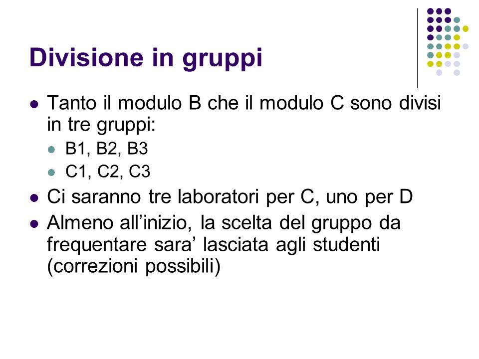 Divisione in gruppi Tanto il modulo B che il modulo C sono divisi in tre gruppi: B1, B2, B3 C1, C2, C3 Ci saranno tre laboratori per C, uno per D Alme
